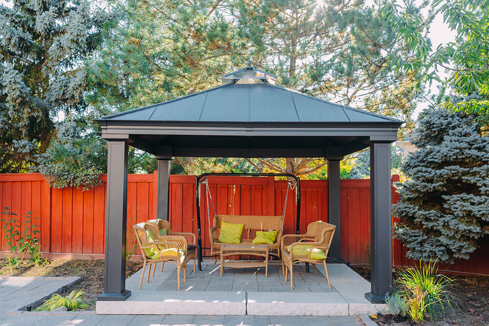 patio landscaping with gazebo in the backyard